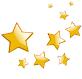 9 étoiles dorées de la plus grande à la plus petite