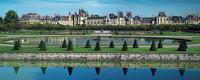 Vue panoramique du château de Fontainebleau depuis les jardins