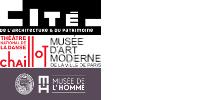 Les 4 logos : Cité de l'architecture et du patrimoine, théâtre de Chaillot, MAMVP, musée de l'Homme