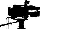 Clipart : silhouette de caméra professionnelle