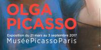 Bas de l'affiche: 'OLGA PICASSO - Exposition du 21 au 3 septembre 2017 - Musée Picasso Paris'