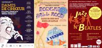 Mosaïque des 3 affiches 'Dame de c(h)œur', 'Modern Ball Room' et 'Jazz n'Beatles'
