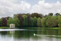 Vue du pavillon à pans sur l'étang avec un cygne