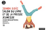 Logo SLPJ - bas d'une silhouette qui fait le poirier - 30 NOV.5 DÉC - logo de la Seine-Saint-Denis