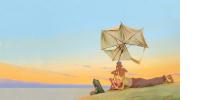 Photogramme de 'Robinson & compagnie' : Robinson allongé sur la plage fait un pied de nez à la mer