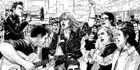 À l'encre de Chine: jeunes manifestants dont l'une, poing levé, un avec guitare, un avec mégaphone…