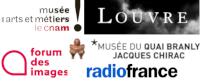 Logos : musées des arts et métiers, du Louvre, du quai Branly, Forum des images et Radio France